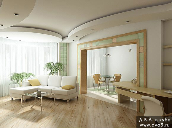 Визуализация интерьера гостиной. Визуализация гостиной. Вид из гостиной